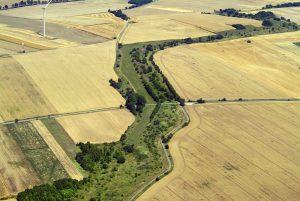 Luftbild von der ehemaligen Grenze zwischen den beiden deutschen Staaten, Niedersachsen und Thüringen, Lkr. Herzberg und Lk.r Nordhausen